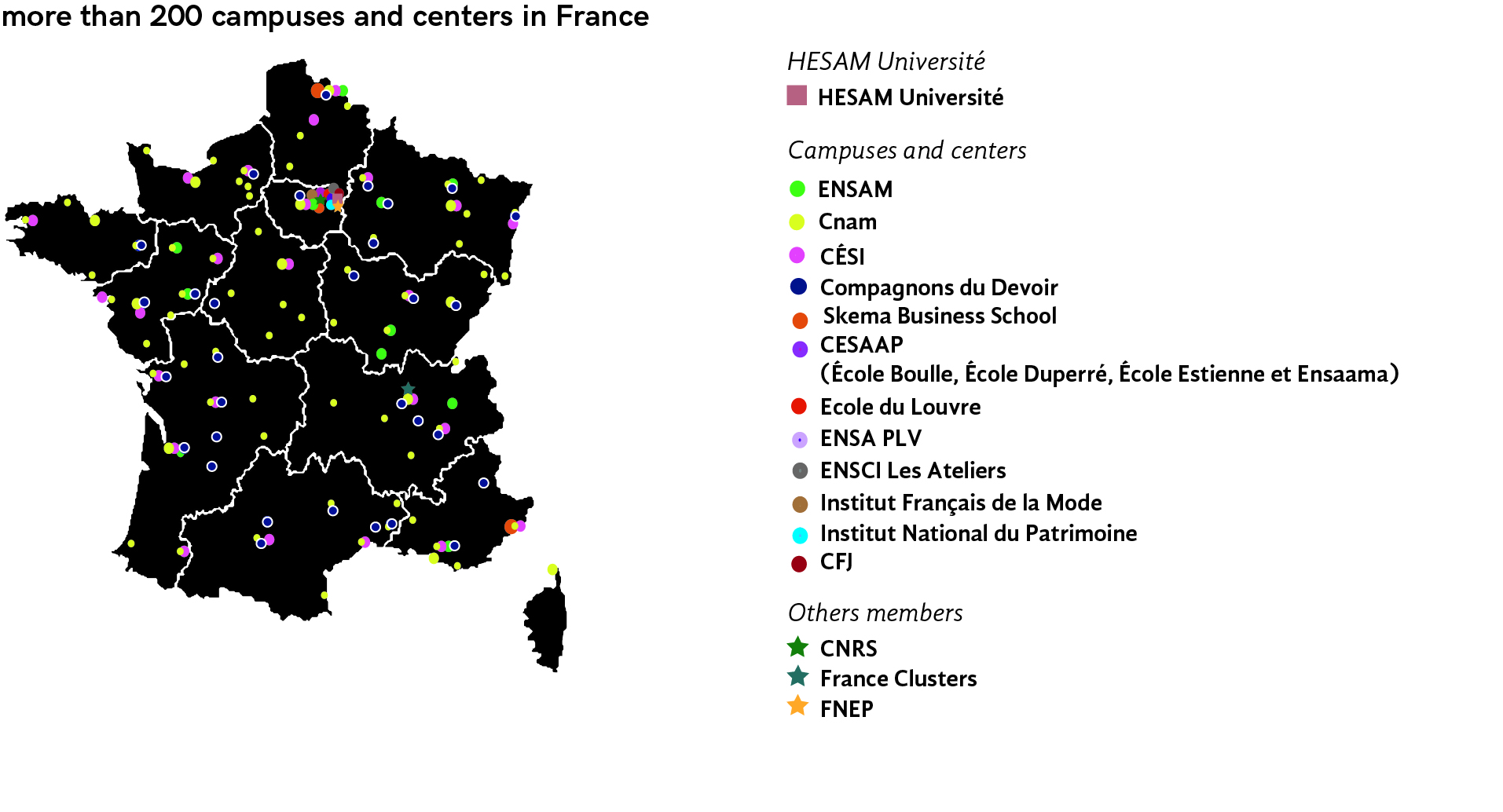 Carte des implantations d'HESAM Université en France